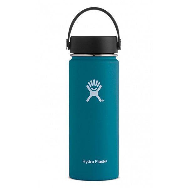 Hydro Flask Wide Mouth 18oz Stainless Steel Water Bottle with Flex Cap Lid  jade dark teal blue