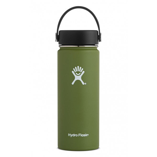 Hydro Flask Wide Mouth 18oz Stainless Steel Water Bottle with Flex Cap Lid  olive dark green