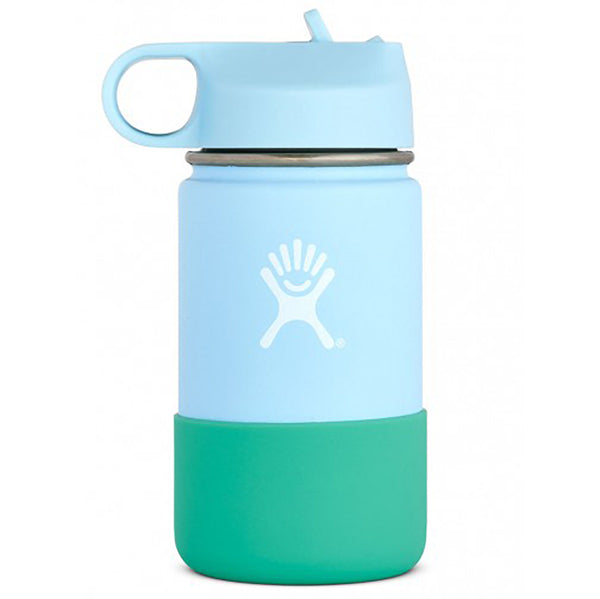 Hydro Flask Kid's Wide Mouth Stainless Steel Water Bottle & Straw Lid frost light blue teal green sleeve