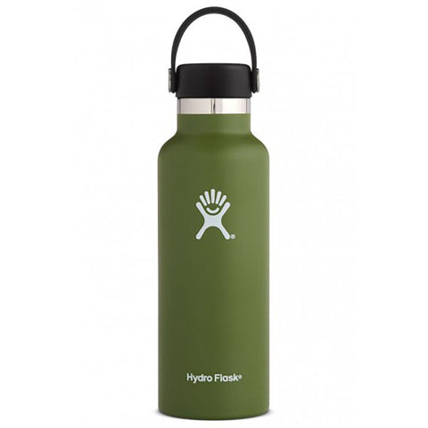 Hydro Flask Standard Mouth Stainless Steel Water Bottle with Flexcap 18 ounce olive dark green