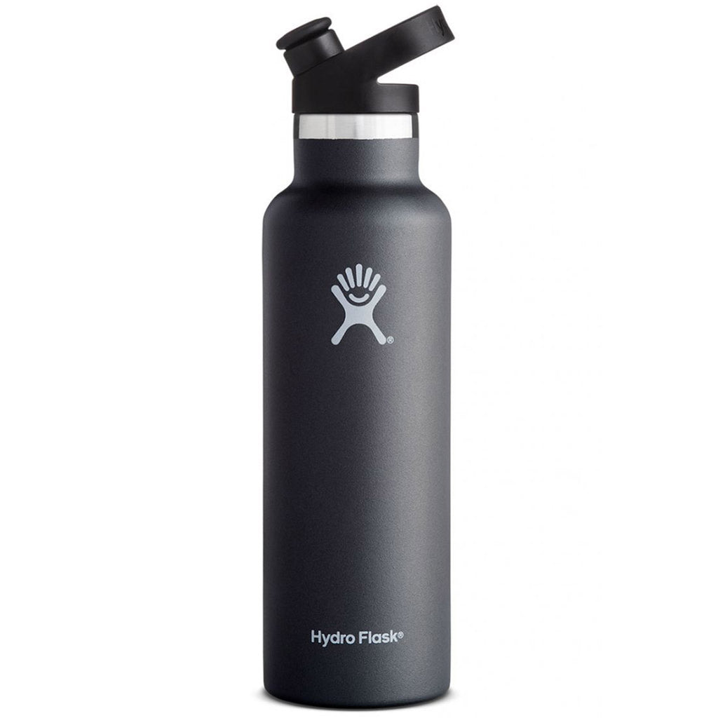 Hydro Flask Standard Mouth Stainless Steel Water Bottle with Sport Cap 20 ounce black