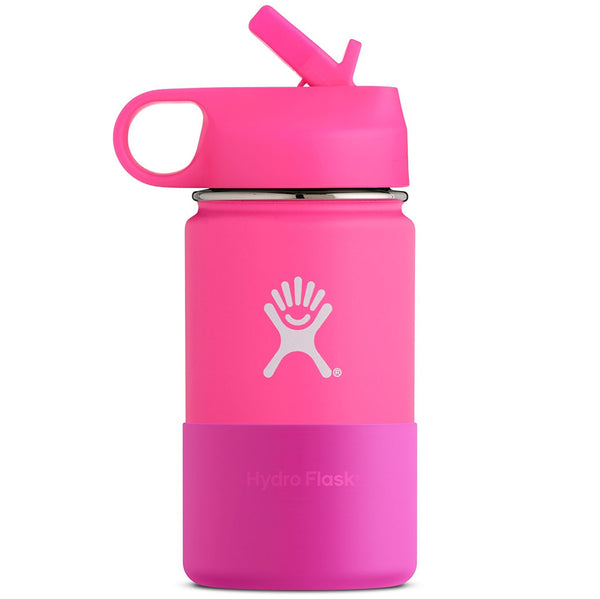 Hydro Flask Kid's Wide Mouth Stainless Steel Water Bottle & Straw Lid flamingo pink