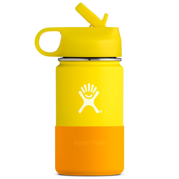 Hydro Flask Kid's Wide Mouth Stainless Steel Water Bottle & Straw Lid lemon yellow