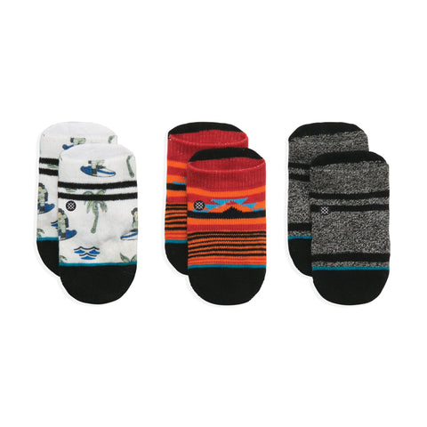 Stance Infant Baby Boys Sock Box Set pattern 3 pack monkey white red grey black stripe and design