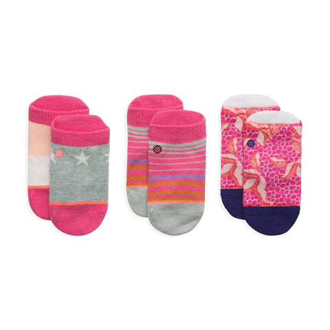 Stance Infant Baby Girls Sock Box Set pattern 3 pack purdy pink grey stripe design