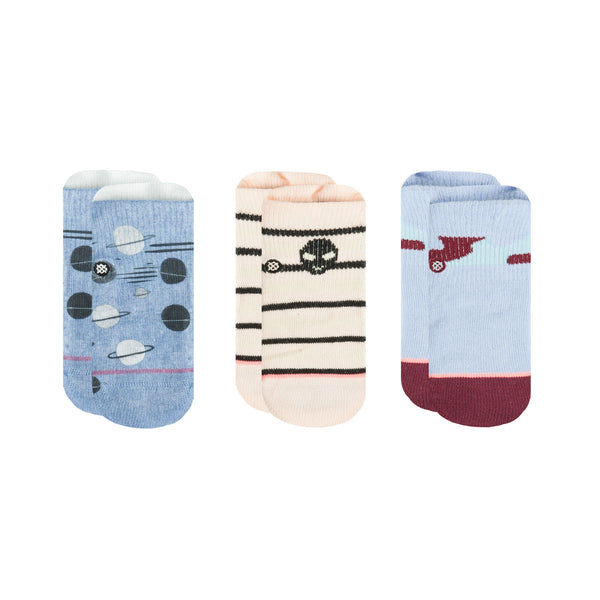 Stance Infant Baby Girls Sock Box Set pattern 3 pack fairytale blue natural beige stripe alien design