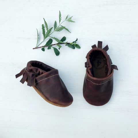 Starry Knight Design Baby Leather Moccasins porter dark brown