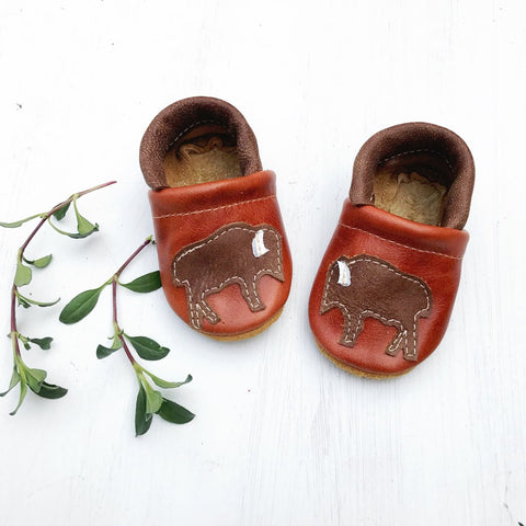 Starry Knight Design Baby Leather Shoes with Design brown bison