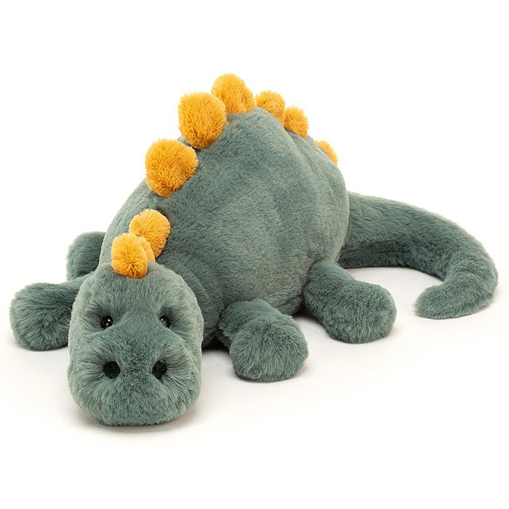 Jellycat Little Douglas Dino Children's Stuffed Animal Toy green body with yellow spikes