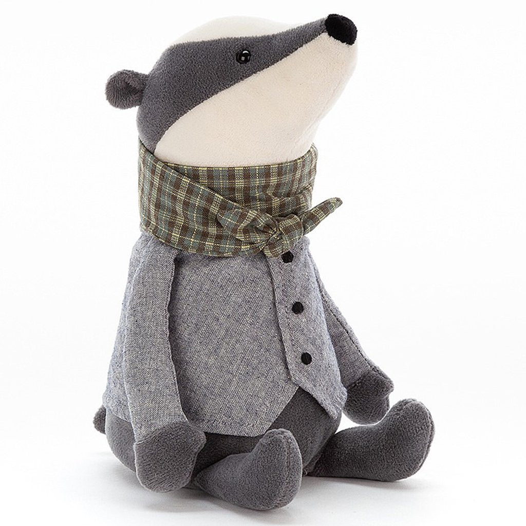 Jellycat Badger Riverside Rambler Children's Stuffed Animal Toy grey green plaid scarf
