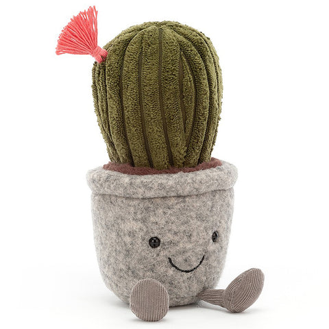 Jellycat Silly Succulents Children's Stuffed Animal & Figure Toys grey pot cactus plant with flower