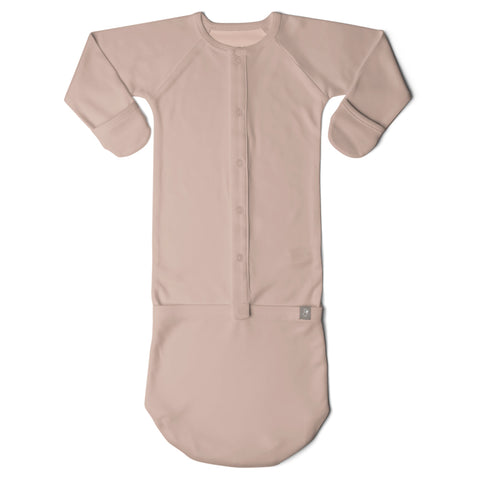 GoumiKids Infant Baby Organic GoumiJamms All-in-One Gown & Sleeper beige rose dusty pink