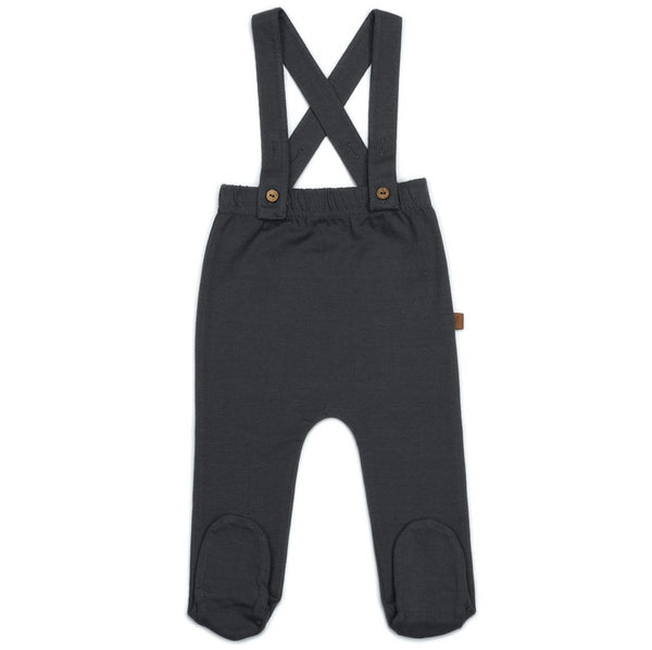 Kid Wild Organics Storm Footed Suspenders Baby Organic Cotton Bottoms black