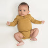 lifestyle_1, Kid Wild Organics Ochre Long Sleeve Henley Bodysuit Baby Onesie dark yellow mustard