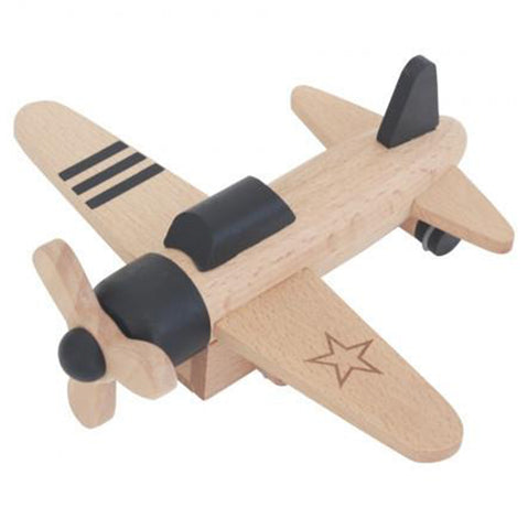 Kiko+ Hikoki Friction Propellar Plane Children's Wooden Toy Aircraft black beige