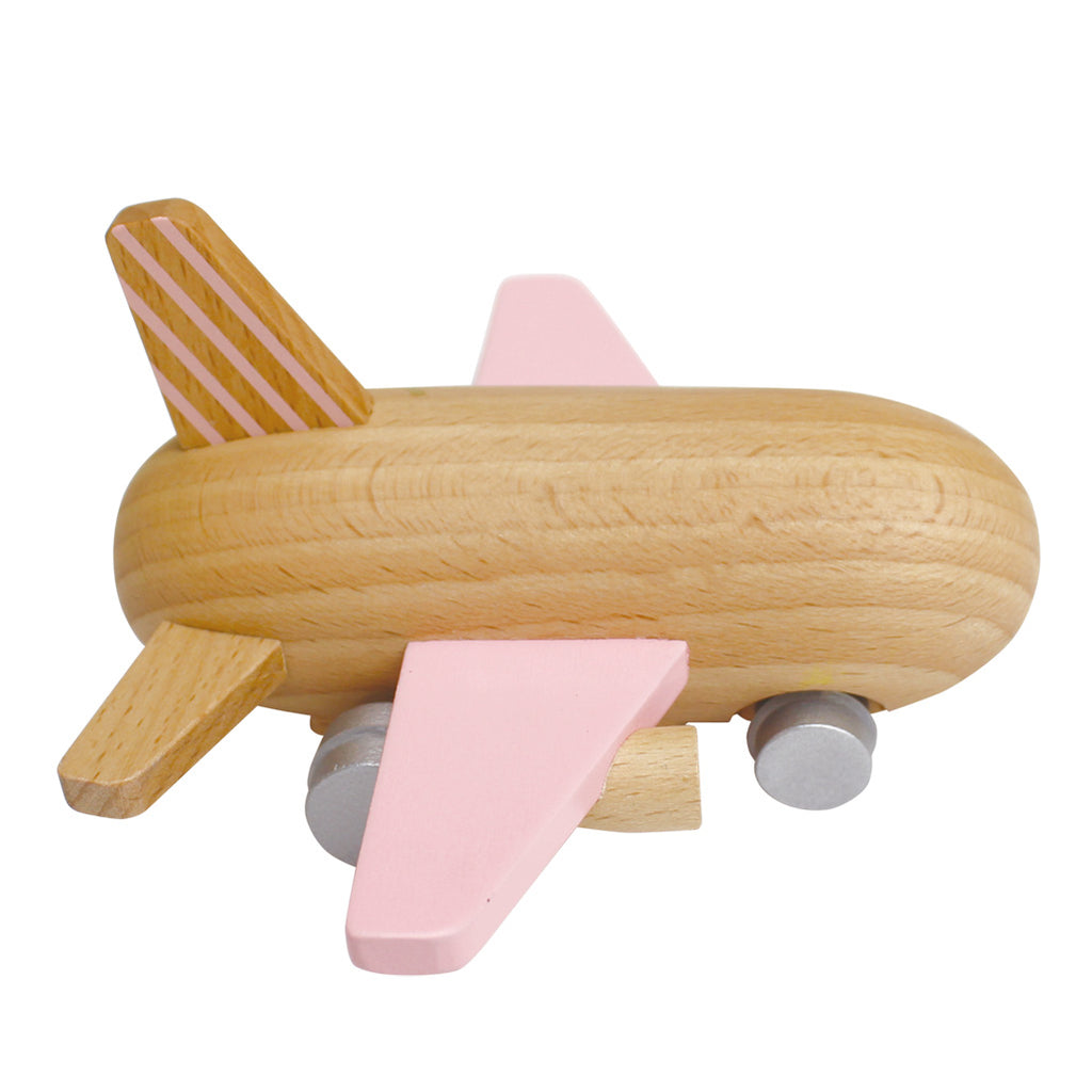 Kiko+ Rose Mini Jet Friction Propelled Children's Wooden Toy Aircraft rose pink natural beige wood