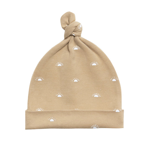 Quincy Mae 100% Organic Cotton Brushed Jersey Infant Baby Knotted Hat honey yellow white polka dot
