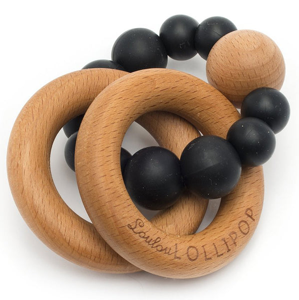 LouLou LOLLIPOP 100% Food Grade Bubble Silicone & Wood Baby Teether  black