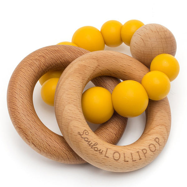LouLou LOLLIPOP 100% Food Grade Bubble Silicone & Wood Baby Teether  golden mustard yellow dark