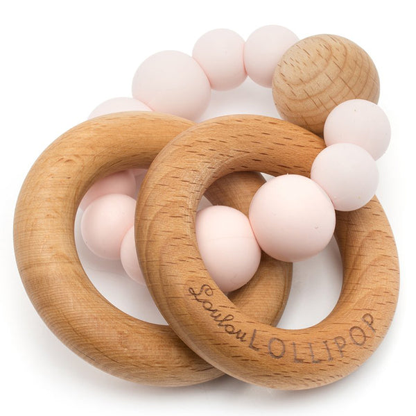 LouLou LOLLIPOP 100% Food Grade Bubble Silicone & Wood Baby Teether  pink quartz light