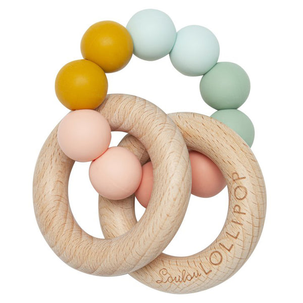 LouLou LOLLIPOP 100% Food Grade Bubble Silicone & Wood Baby Teether rainbow pastel multicolored