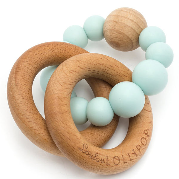 LouLou LOLLIPOP 100% Food Grade Bubble Silicone & Wood Baby Teether  robin's egg blue light