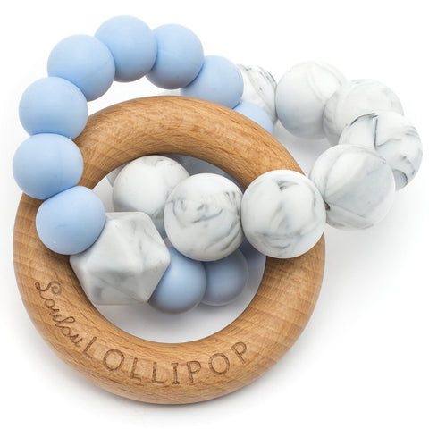 LouLou LOLLIPOP 100% Food Grade Bubble Silicone & Wood Baby Teether Toy trinity baby blue marble grey