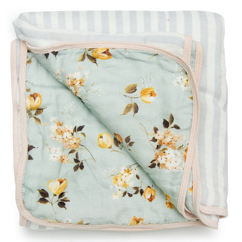 LouLou LOLLIPOP Deluxe Bamboo & Cotton Muslin Children's Quilt Blanket wild rose floral grey pin stripe