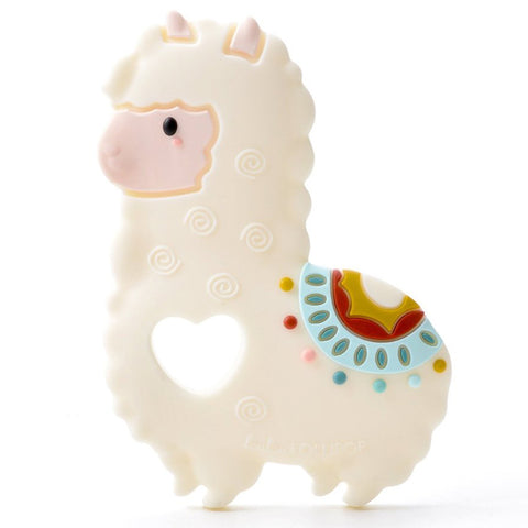 LouLou LOLLIPOP 100% Food Grade Silicone Infant Baby Teether Toy llama alpaca white multicolored saddle