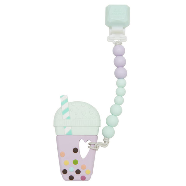 LouLou LOLLIPOP 100% Food Grade Silicone Infant Baby Teether Toy Set bubble tea lilac mint pastel