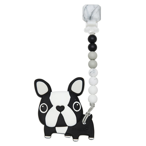 LouLou LOLLIPOP 100% Food Grade Silicone Infant Baby Teether Toy Set boston terrier dog black white big eyes