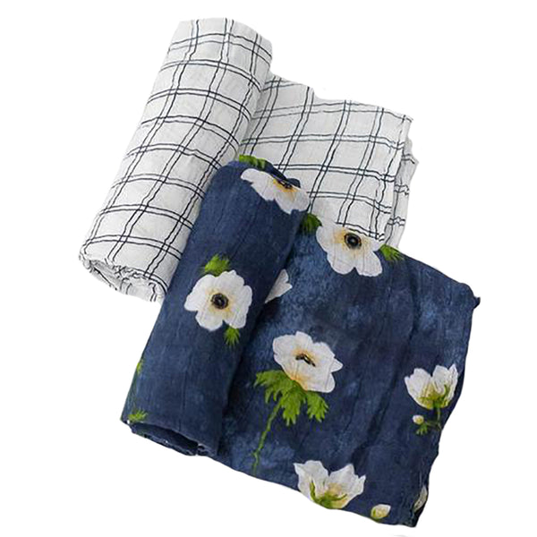 Little Unicorn Lightweight Breathable Deluxe Muslin Baby Swaddle Set white anemone dark navy blue floral flower checker stripe