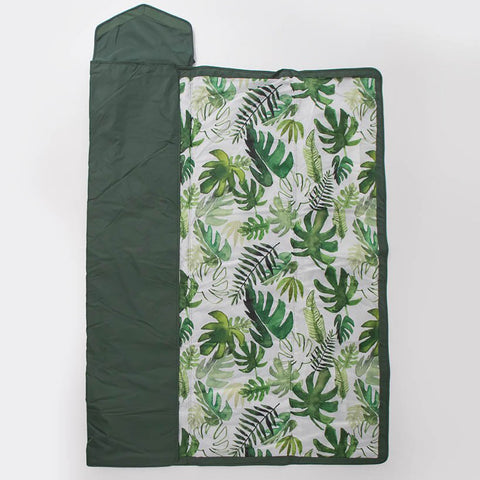 Unicorn Premium Water Resistant Fold & Pack Outdoor Blanket tropical leaves dark green picnic