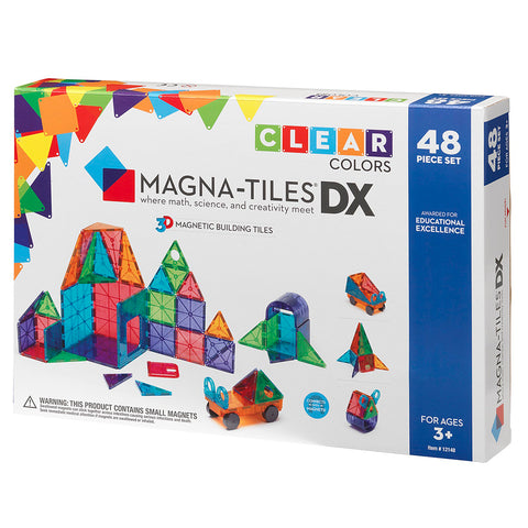 Valtech Magna-Tiles 48-Piece Deluxe 3D Magnetic Building Set multicolored