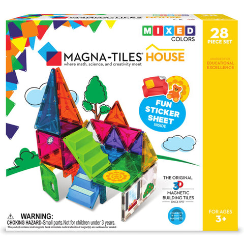 Valtech Magna-Tiles 28-Piece Magnetic Building House Set multicolored pretend play game puzzle
