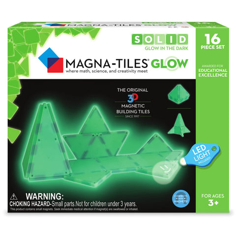 Valtech Magna-Tiles 16-Piece Glow 3D Magnetic Building Set green