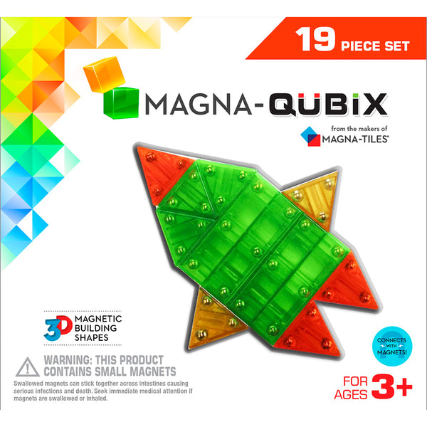 Valtech Magna-Qubix 3D Magnetic Building Set pretend play games puzzles multicolored 19 piece