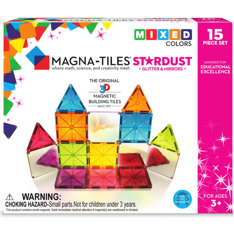 Valtech Magna-Tiles 15-Piece Stardust 3D Magnetic Building Set multicolored