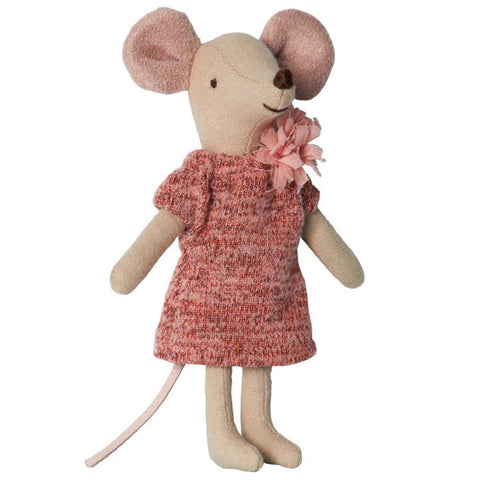 Maileg Children's Pretend Play Big Sister Mouse Doll pink knit dress with pom pom