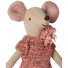lifestyle_1, Maileg Children's Pretend Play Big Sister Mouse Doll pink knit dress with pom pom