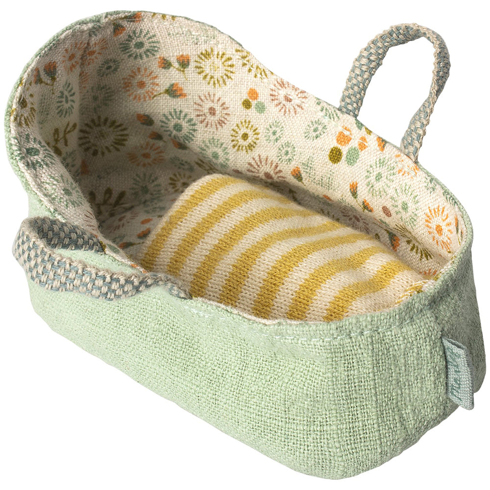 Maileg Pretend Play My-Size Carrycot for Baby Mouse Doll mint green striped yellow floral multi-colored