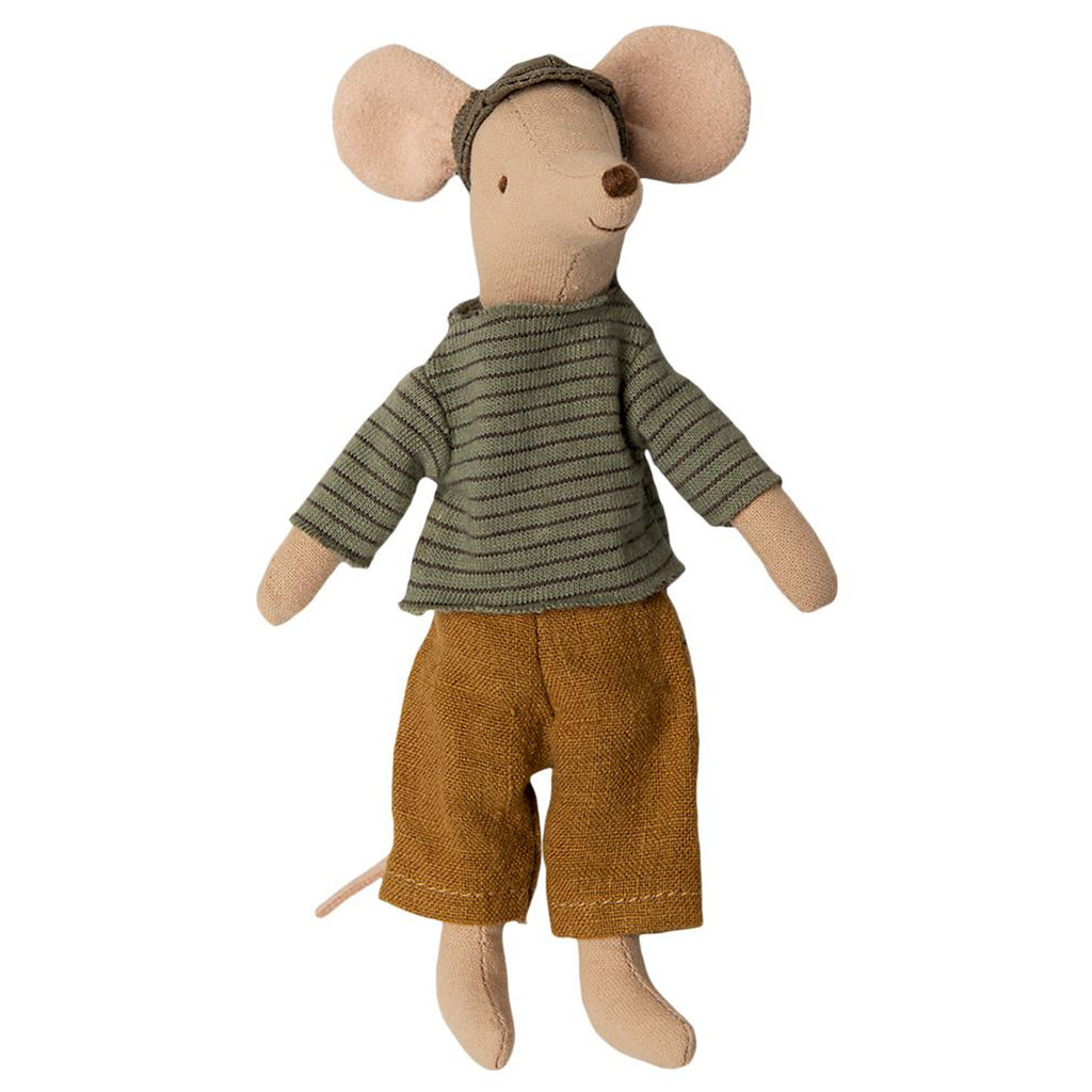 Maileg Dad Mouse Children's Pretend Play Doll Toys green brown striped shirt orange linen pants