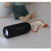 lifestyle_1, Maileg Micro-Sized Pretend Play Children's USB Chargeable Flashlight black leather handle loop