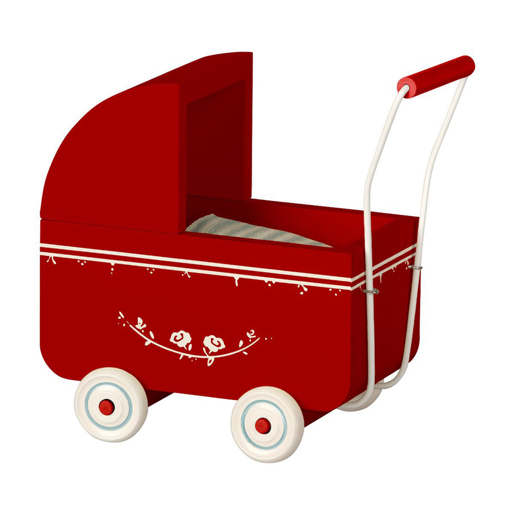 Maileg Red Micro Pram Hand Crafted Children's Play Doll Accessory white details and wheels
