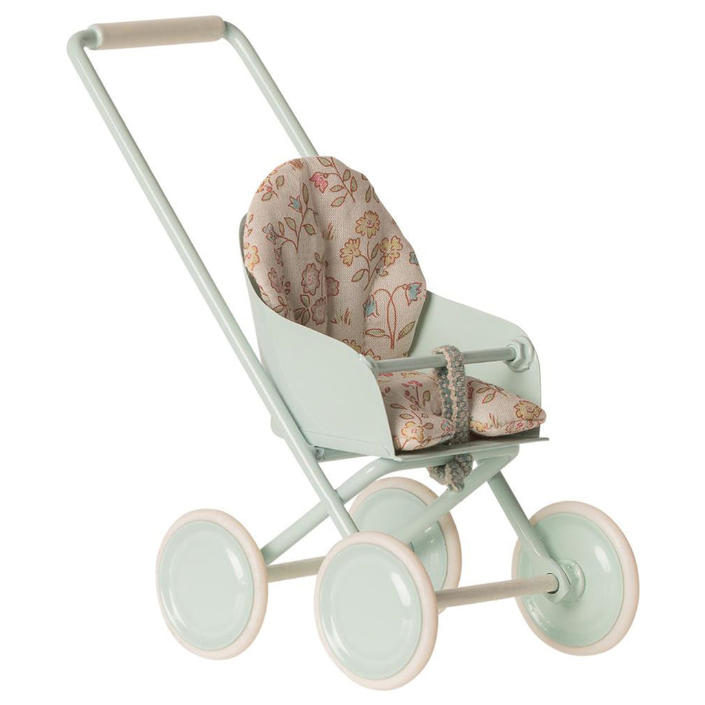 Maileg Micro Stroller Children's Pretend Play Dollhouse Accessory Toy sky blue