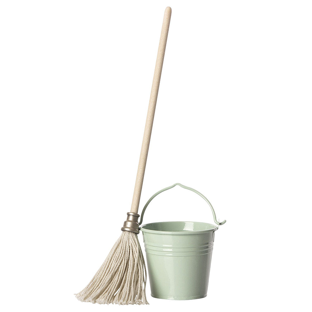 Maileg Pretend Play Mini Mop & Bucket Set metal wood cotton green