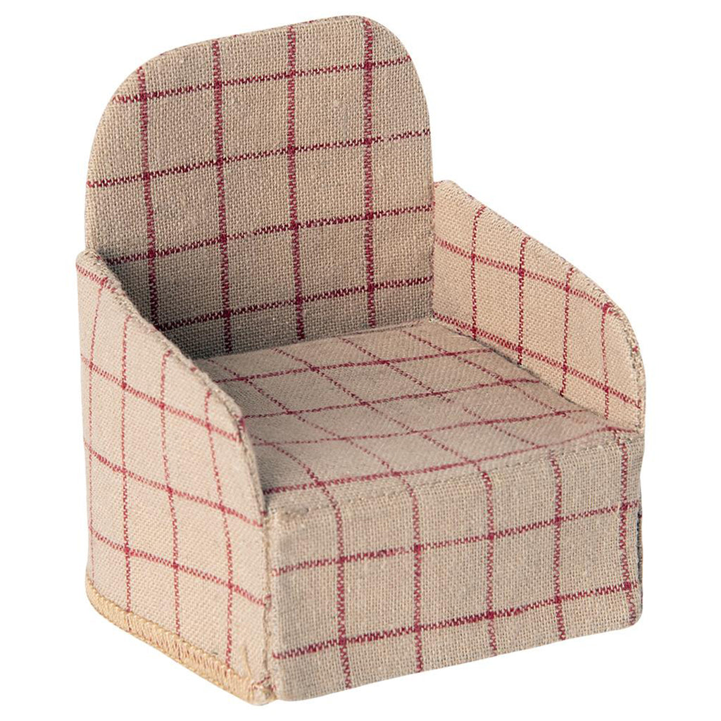 Maileg Mouse Chair Children's Dollhouse Doll Toy Accessory brown plaid red