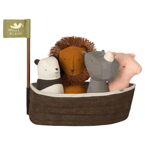 Maileg Noah's Ark with 4 Rattles Infant Baby Toy Set panda lion rhino pig