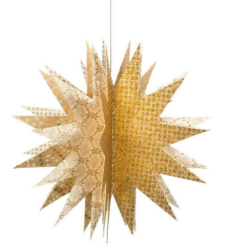 fold-out paper start ornament with glitter