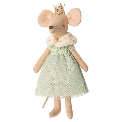 Maileg Queen Mouse Children's Pretend Play Doll Toys light sage green dress fluffly color golden crown